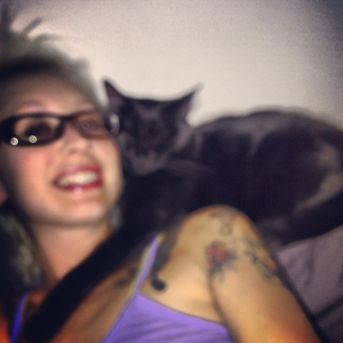 I know this is blurry, but it's hard to act like a professional photographer with a kitty scarf.